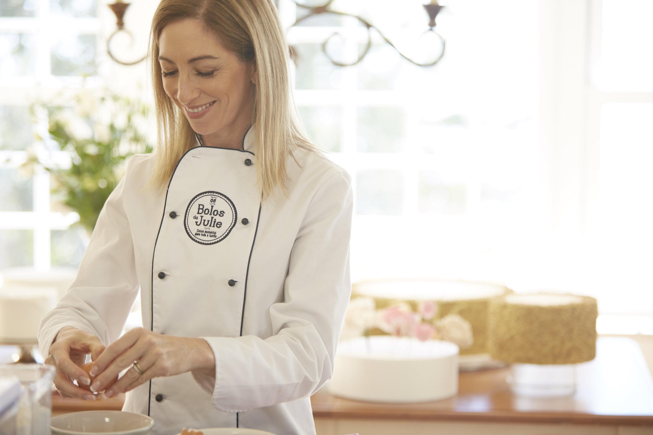 Julie Deffense, in the kitchen