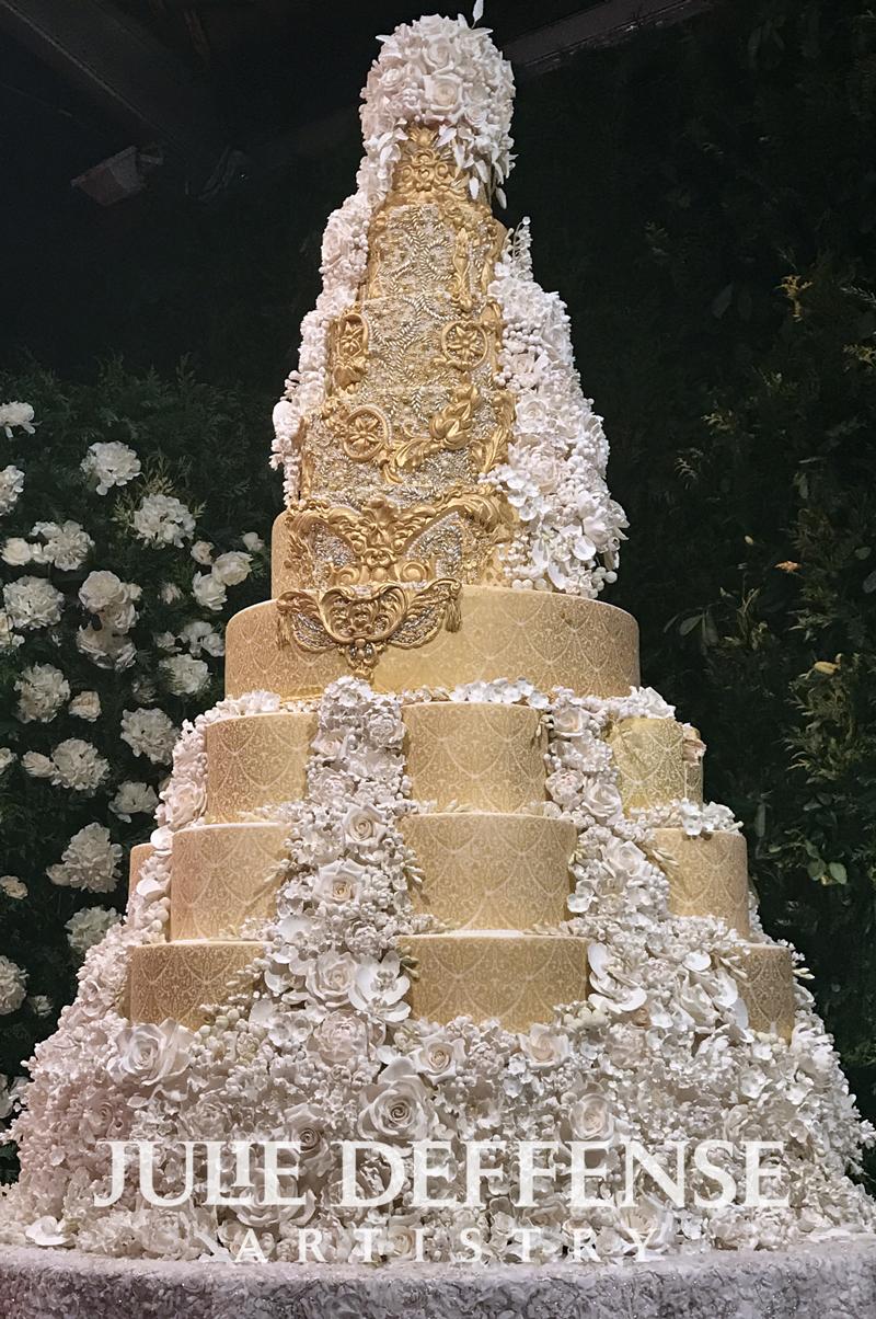 Julie Deffense Artistry - gold and white luxury wedding cake