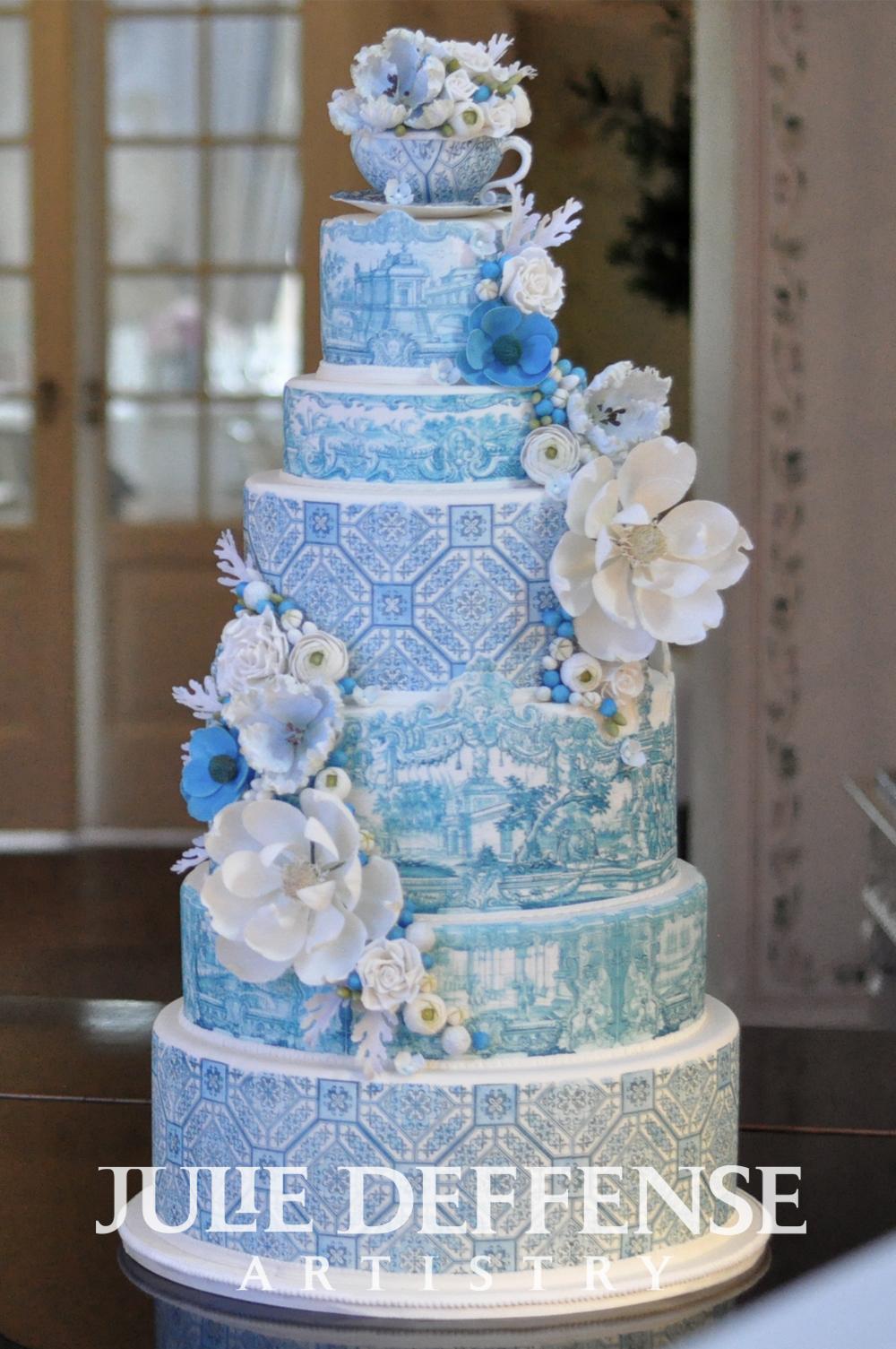 Julie Deffense Artistry blue and white azulejo wedding cake