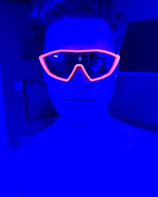 Working late... and these glasses in blue light? Kinda explains me in one photo. • • • #lighting #lights #sunglasses #prada #studio #music #fashion #tattoos #night #insomnia #alien #singer #producer #new