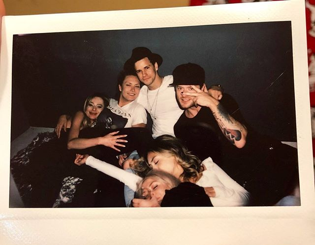 How many hours a weeks do YOU sleep a week? (I think this was at about 6am?) • HAPPYBirthday @janellehansen • • • • • #birthday #party #wine #insomnia #drunk #music #polaroid #tattoos #friends