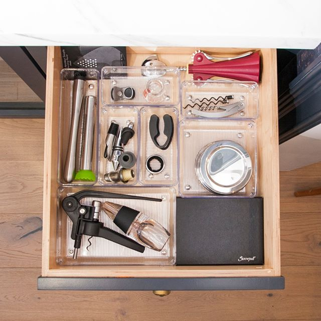 It may be thirsty thursday but don't let your kitchen get topsy-turvy! Keep bottle corkscrews and openers arranged in these acrylic drawers boxes from @thecontainerstore. #kitchensbynancy⠀⠀⠀⠀⠀⠀⠀⠀⠀ .⠀⠀⠀⠀⠀⠀⠀⠀⠀ .⠀⠀⠀⠀⠀⠀⠀⠀⠀ .⠀⠀⠀⠀⠀⠀⠀⠀⠀ .⠀⠀⠀⠀⠀⠀⠀⠀⠀ . ⠀⠀⠀⠀⠀⠀⠀⠀⠀ #organizedlife #myorganizedlife #organizationtips #tipsandtricks #homethings #homeorganization #myorganizedkitchen #myorganizedhome #getorganized #organizedhome #declutter #smallspacesquad