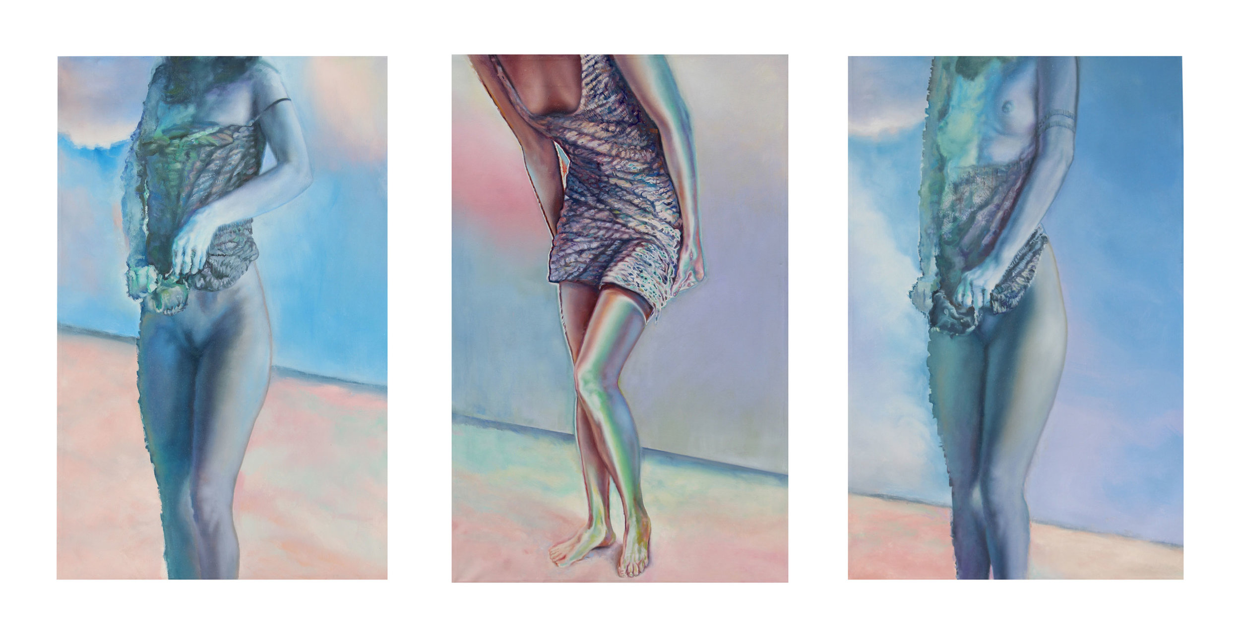 Blue Reveal Triptych -Oil on canvas  Each painting 4' W x 5' H