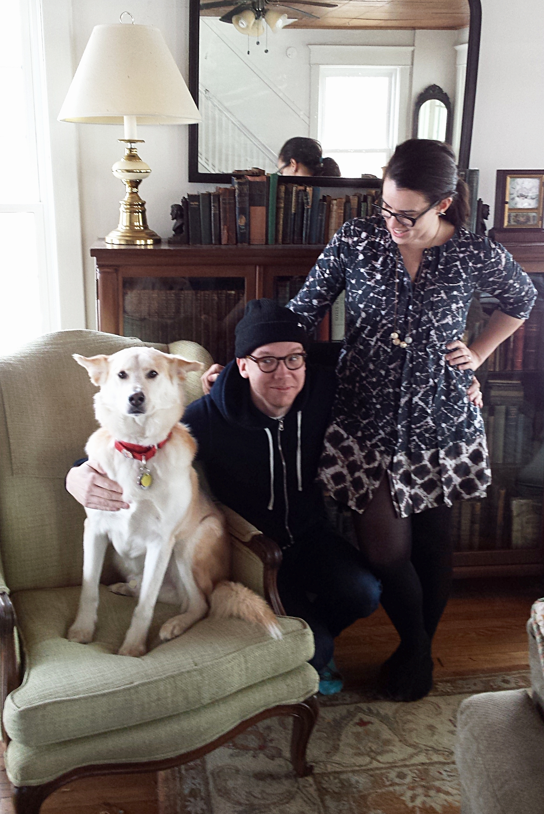 Loki greets Grownups Read Things They Wrote as Kids' host Dan Misener and producer Jenna Zuschlag-Misener