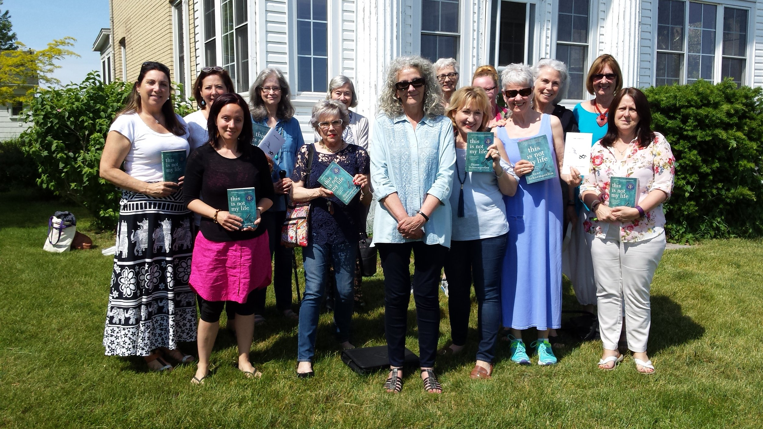 Diane's workshop students, holding copies of her Taylor Prize shortlisted memoir,  This Is Not My Life: A Memoir of Love, Prison, and Other Complications