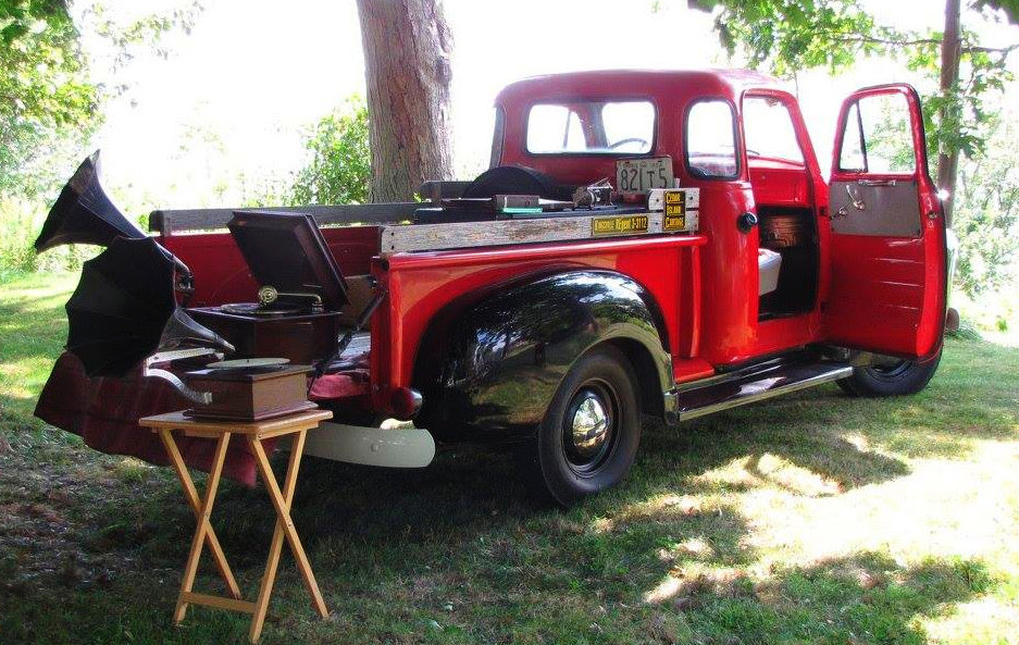 Stephen Phillip's 1945 Chevrolet, with antique phonographs and records