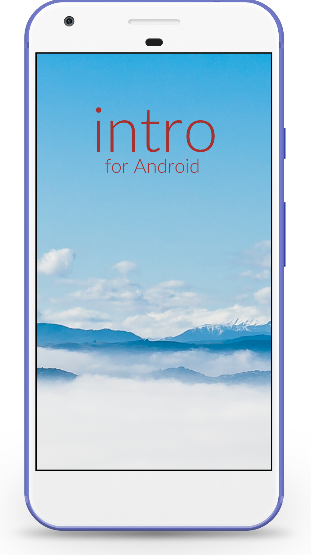 Intro launch screen illustrated on a Google Pixel Android phone.