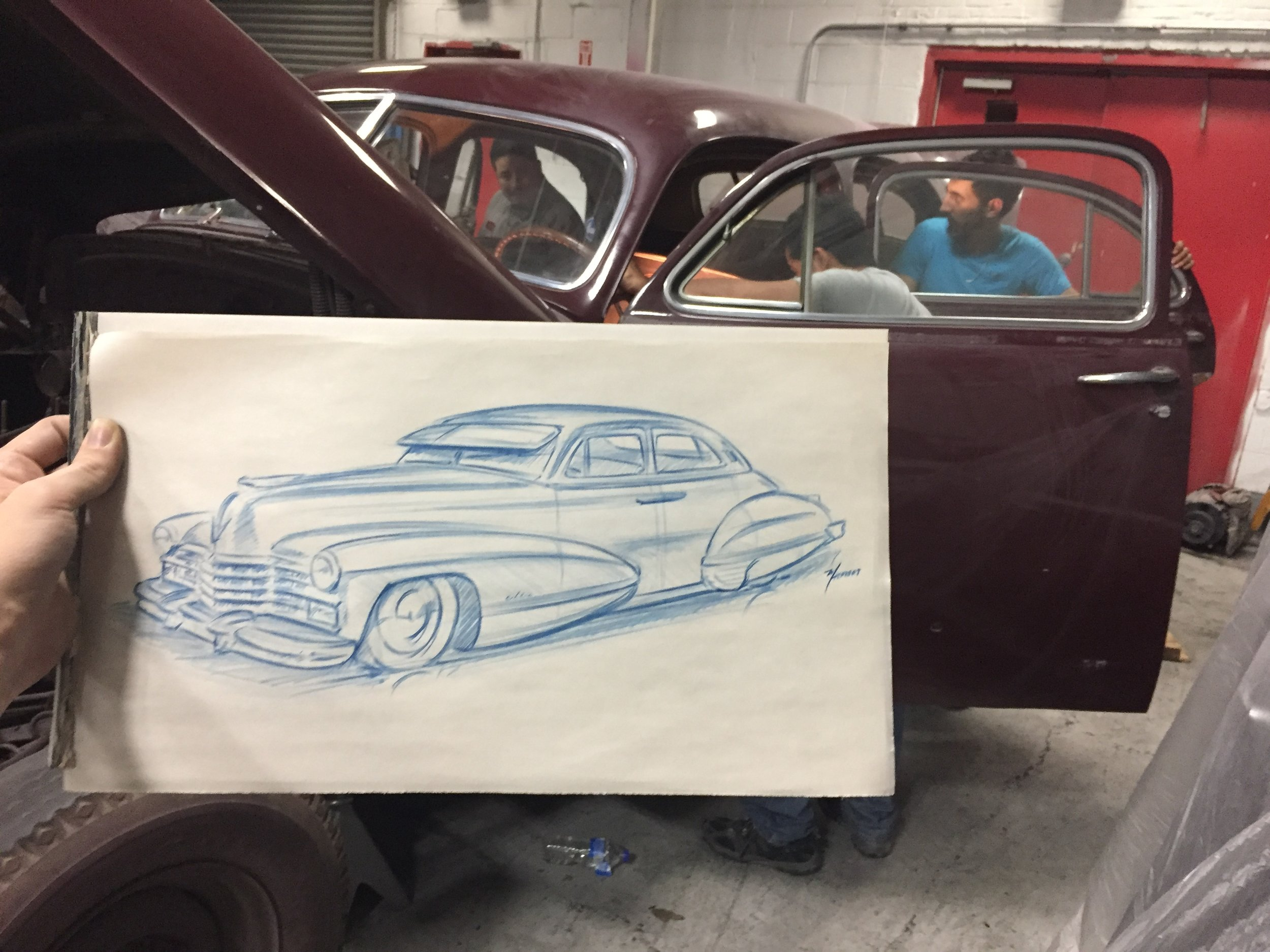 The first sketch of the '47 Cadillac done by Mike Herbert as the interior was taken apart.