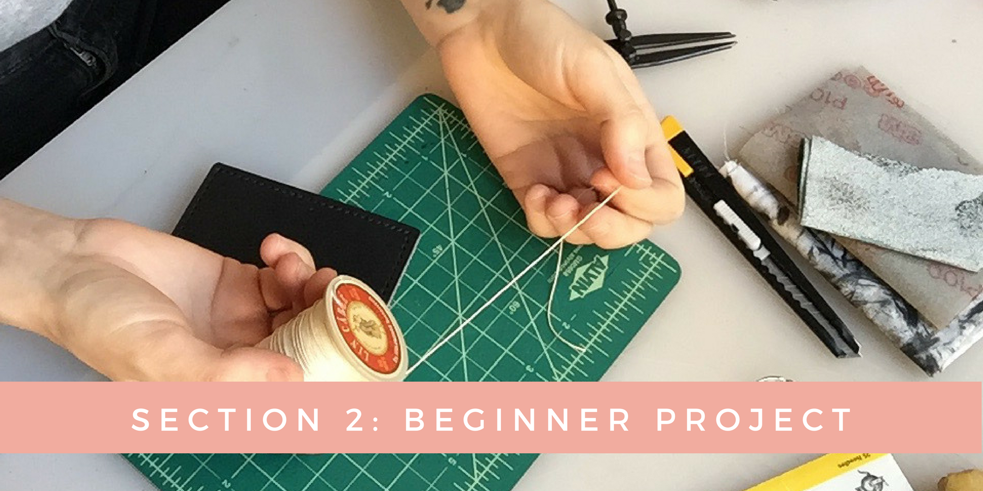 SECTION 2: Beginner Project Mousepad/trivet - Once you have completed the beginner mousepad project, you will know how to complete the 6 basics steps to any basic leathergood.You will learn proper methods for cutting leather, creating stitching guidelines, creating stitching holes using stitching chisels, saddle-stitching and edge finishing.