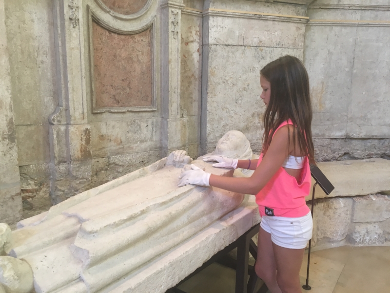 My daughter investigating ruins