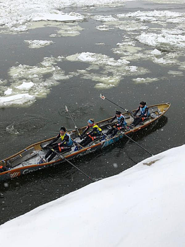 Canoes Hitting the Water