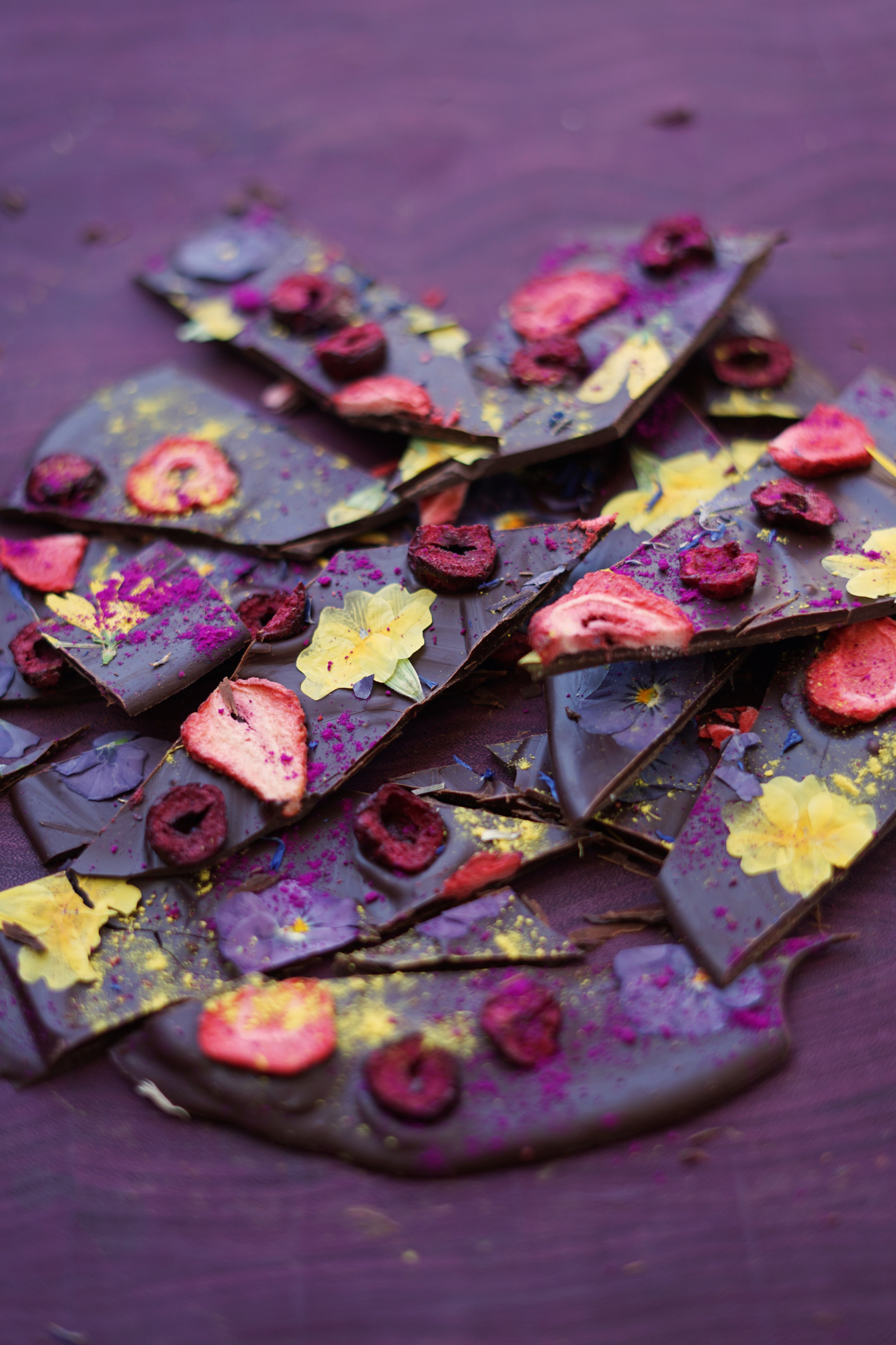 Use fresh picked dried flowers in artisan chocolate recipes