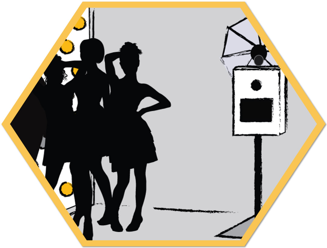 Open Style Booth - Our photo booths are modern and open style and feature automated, fully self-serve touchscreen.You and your guests operate it with ease and in privacy. Plus support from our pro delivery staff.