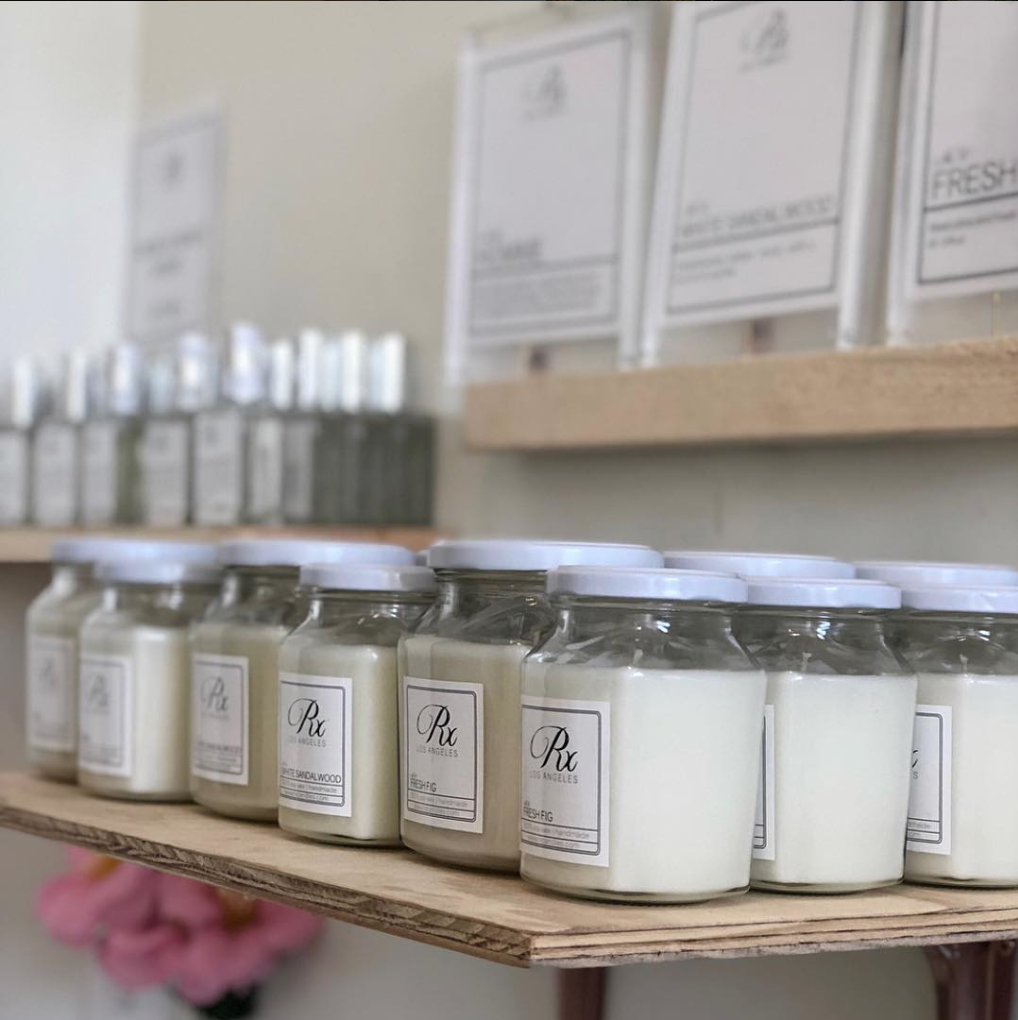 Rx Candles (@rxcandles on Instagram) fills the space with sweet scents while you shop, and you can pick one up for yourself. Photo via Allright Collective.