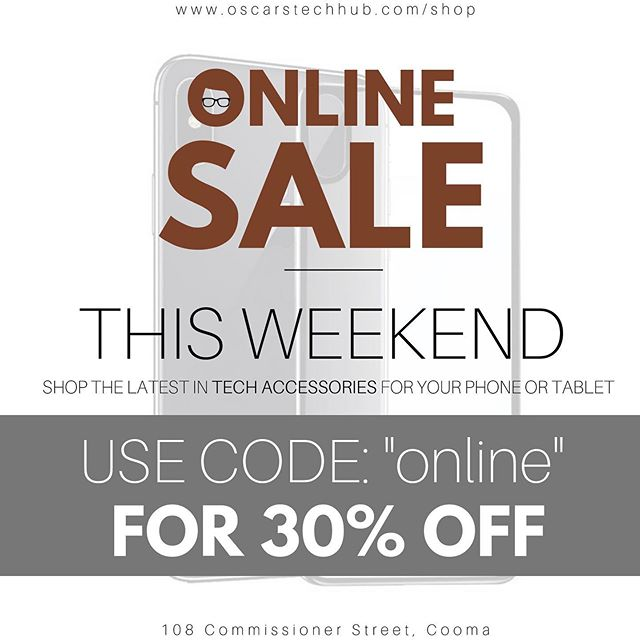 """ONLINE SALE THIS WEEKEND 💵  To celebrate the launch of our online store, we're offering 30% OFF ALL ITEMS 😱  That includes Tempered Glass and Cases for SAMSUNGS AND APPLE DEVICES, as well as Headphones, Car Mounts, Cables, and MUCH MORE! 📱  Just enter promo code """"online"""" at checkout. Head to www.oscarstechhub.com/shop to browse the range!  ENDS SUNDAY NIGHT!  #oscarstechhubonline"""