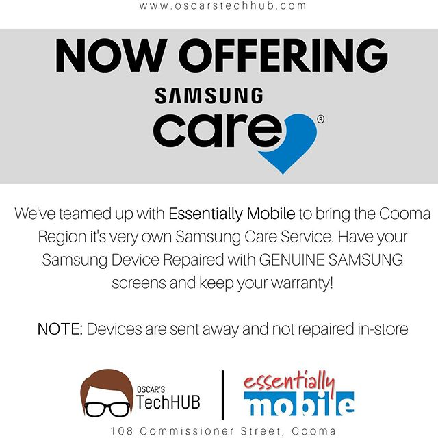 BIG NEWS 💙 Oscar's TechHUB has teamed up with Essentially Mobile to bring you a SamsungCare Screen Repair service to Cooma! Have your Samsung Device repaired with GENUINE Samsung Screens and KEEP YOUR WARRANTY! 😍  For pricing or more info, send us a message or come visit us in store! #oscarstechhub  NOTE: devices are NOT repaired in store and are sent to Essentially Mobile