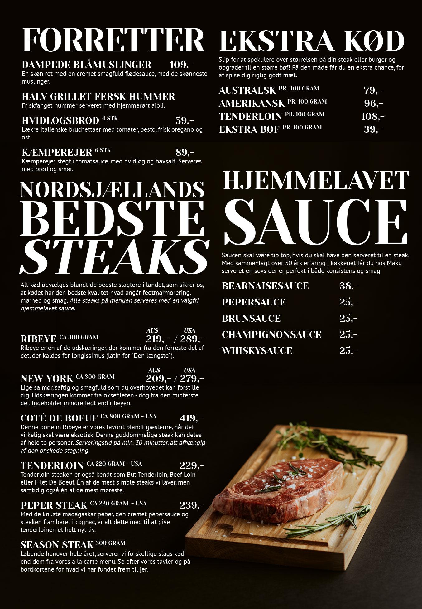 Side 2: Forretter, steaks, sauce