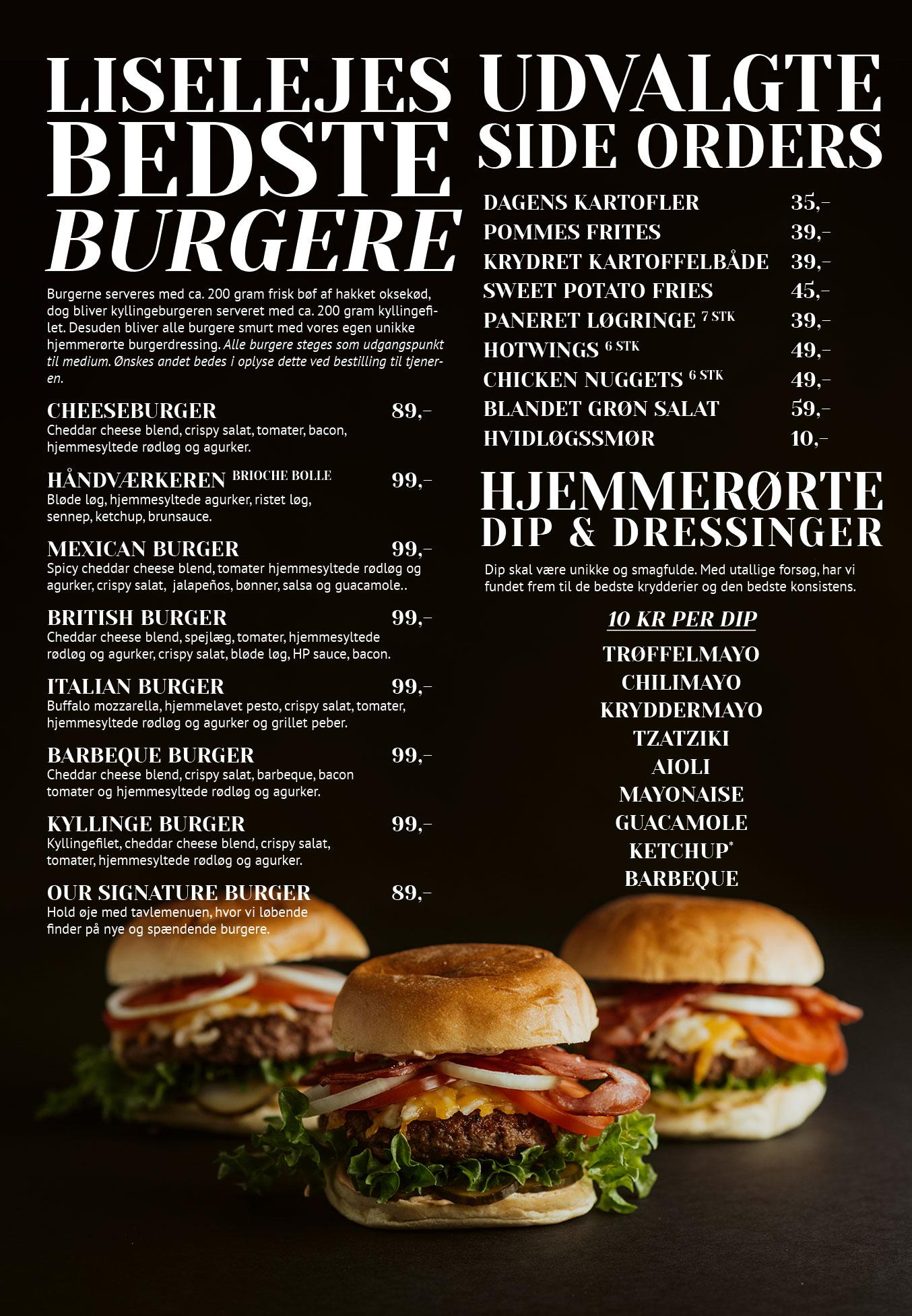 Side 3: Burgere, side orders, dip og dressinger