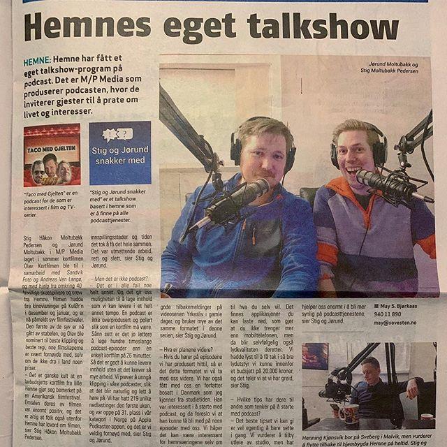 Den gangen vi var i avisa 😇 #hemne #søvesten #kyrksæterøra #mpmedia #moltubakkpedersenmedia #podcast #stigogjørundsnakkermed #tacomedgjelten #podkast #avis #trøndelag #stig #jørund