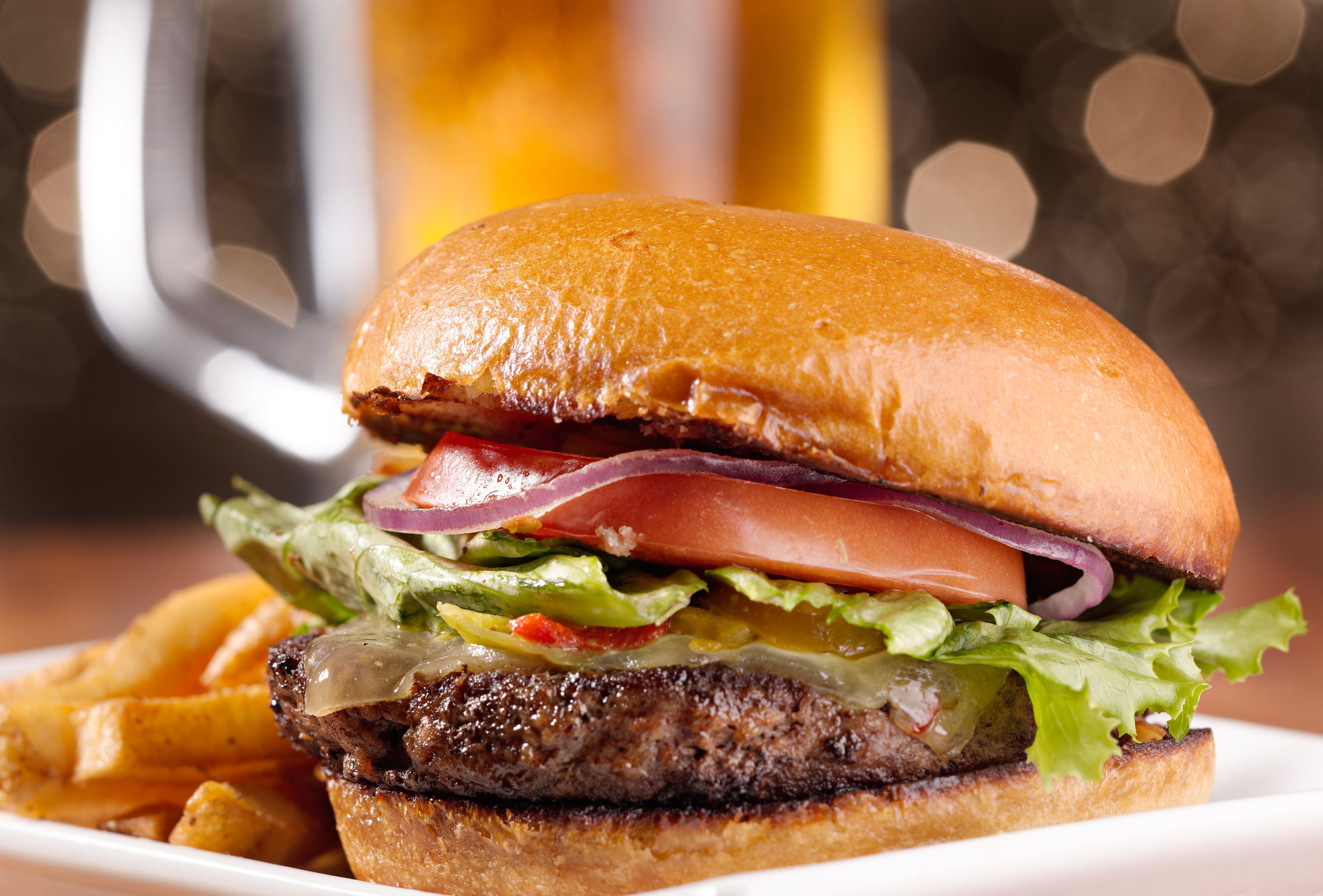 Burgers + Dogs - Our Burgers are Hand Pattied and 1/2 pound each! Burgers and Sandwiches are available on Regular, Wheat, or Jalapeno Bun; Dressed with Lettuce, Tomato, Pickle, Onion, and Mayonnaise.