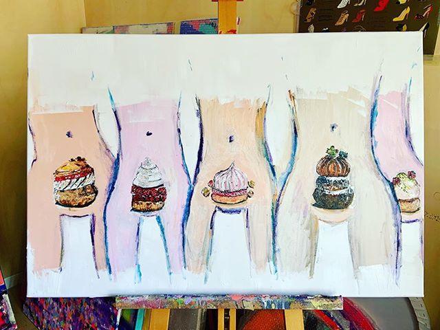 Mon chou à la crème #feminist #art #oeuvre #artwork #colors#arty#gateaux#peinture#gourmandise #feminsacre #women #painting#femme #foodpainting #acrylicpainting #canevas #nmerzoug