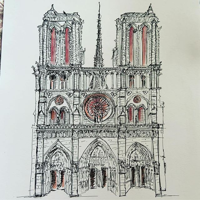 À la plus belle. Éternelle 💔#notredamedeparis #paris #patrimoine #cathedrale #cathedralenotredamedeparis #dessin#illustration #drawing #eternelle #nmerzoug