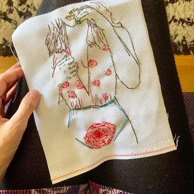 Ma petite fleure ✨#broderie #pink#femme#illustration #women #fleur #petitefleur #dessin#pivoine #women #arty#broderieart #drawing