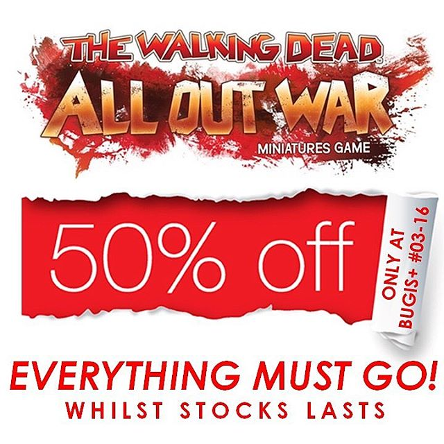 We are having a 50% OFF SALE for all of THE WALKING DEAD All Out War Miniatures Game products @ Bugis+ #03-16 because one can't just settle with one walking dead product, so now's your chance to get em at such a sale! Promotion is ongoing, whilst stocks last. Terms and Conditions apply.