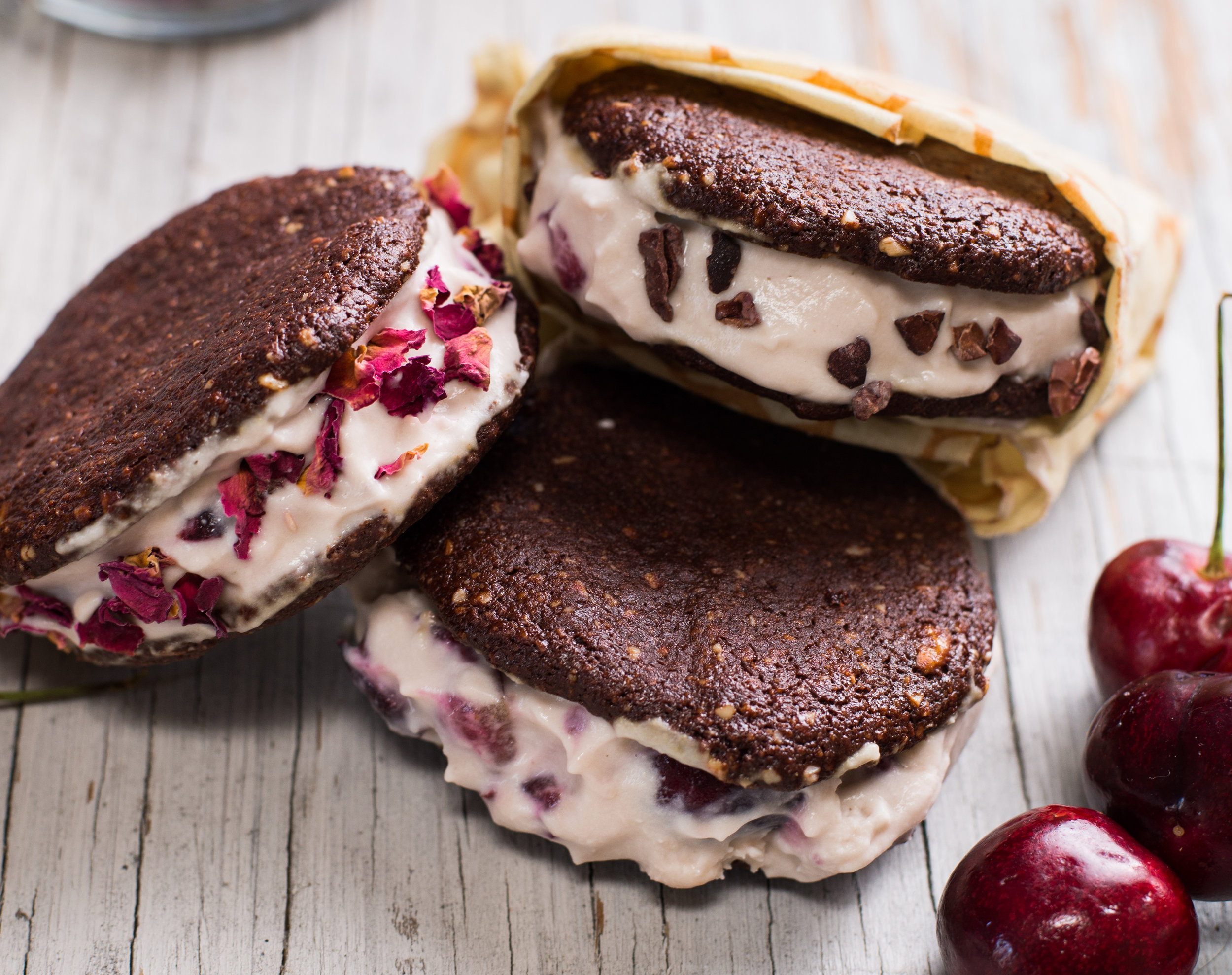 Vivacious Dish Cherry Vanilla Cauliflower Ice Cream Sandwiches