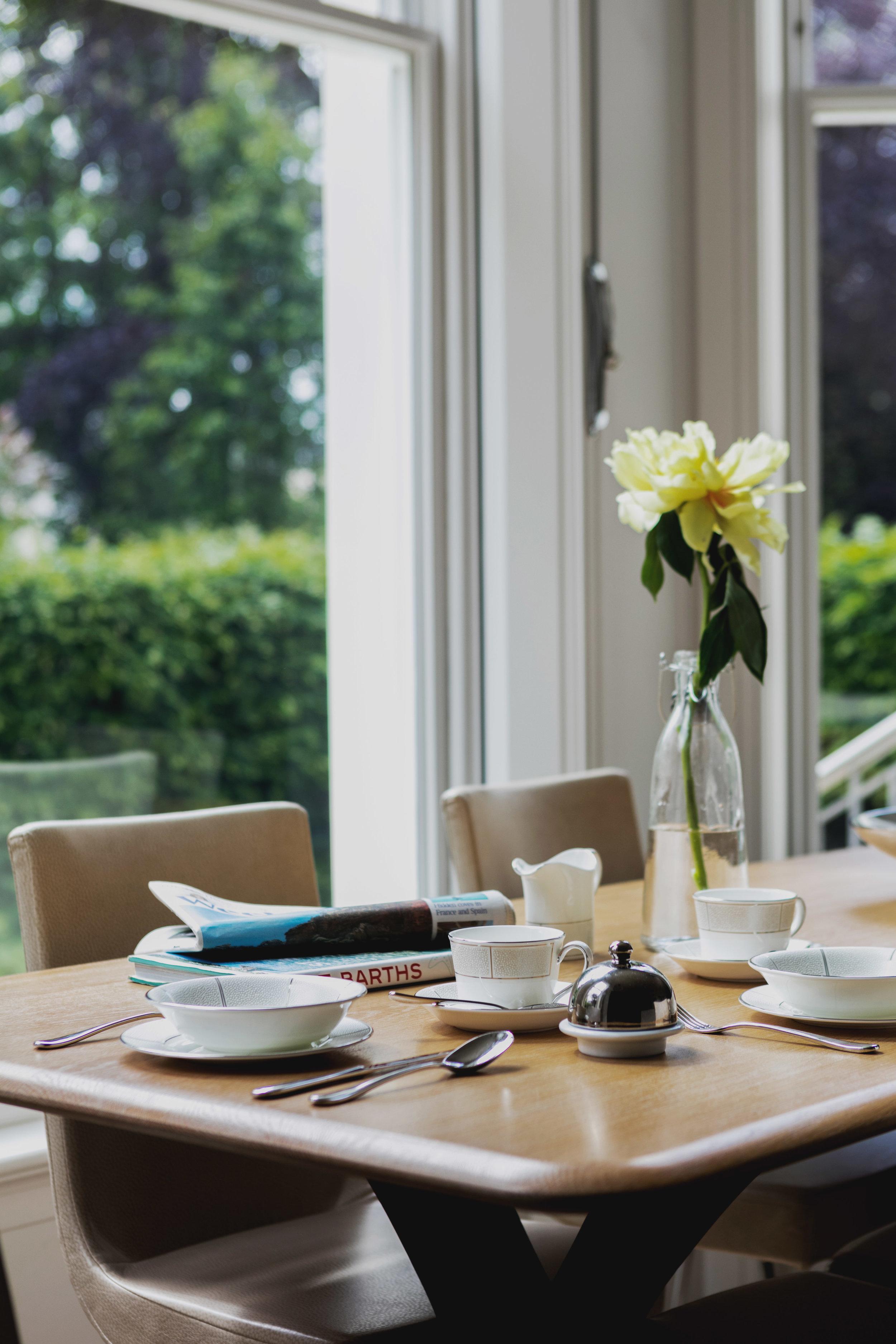Interior design of dining room in ultra luxurious West London Regency Villa