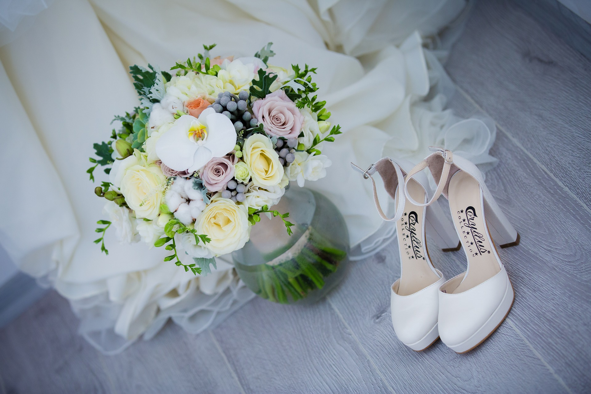 Floral Bouquet and Wedding Shoes