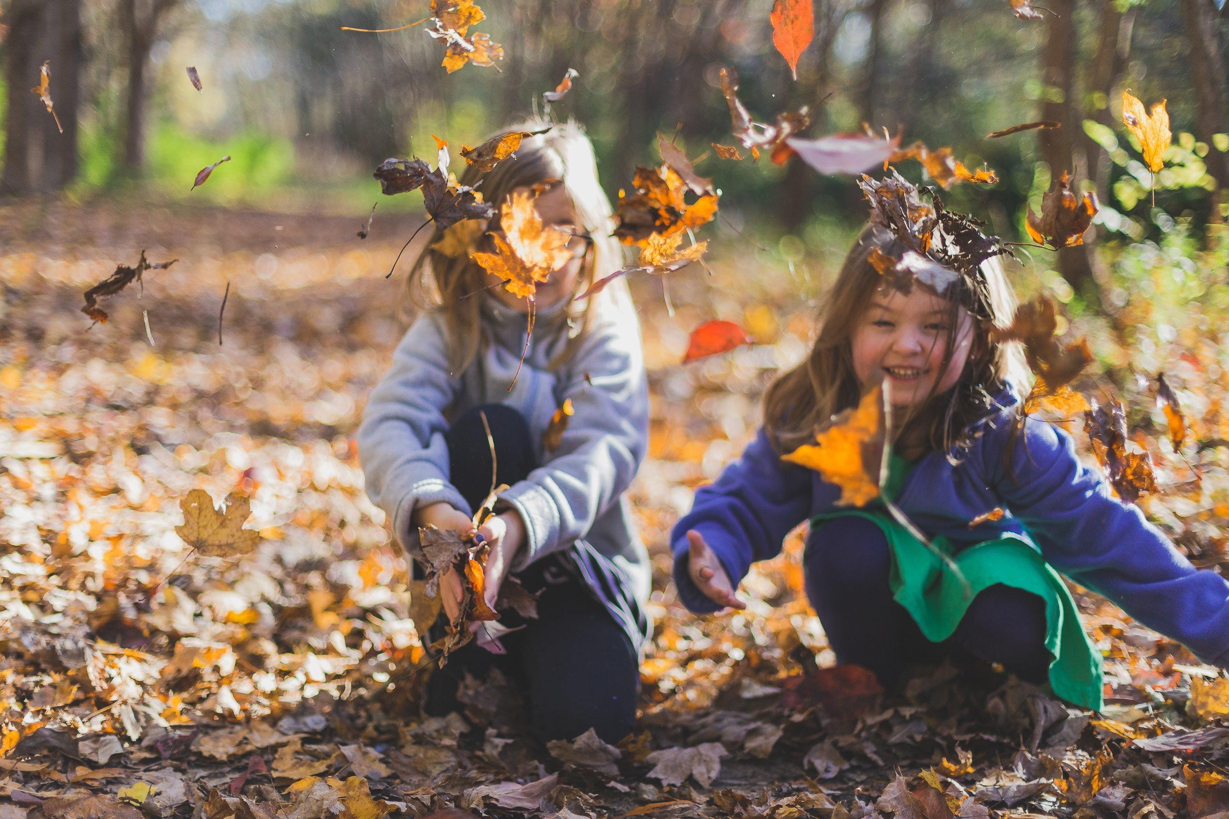 Children play outside in the leaves