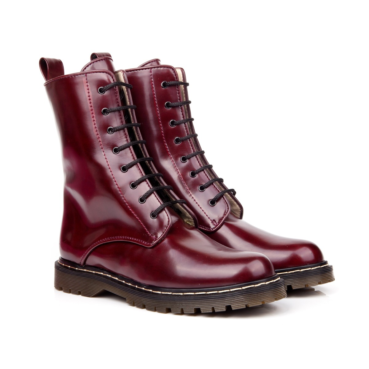 Beyond Skin   FRIDA BURGUNDY LACE UP VEGAN BOOTS