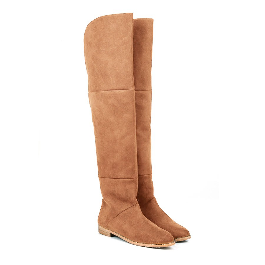 Beyond Skin   PIXIE CAMEL OVER THE KNEE VEGAN BOOTS