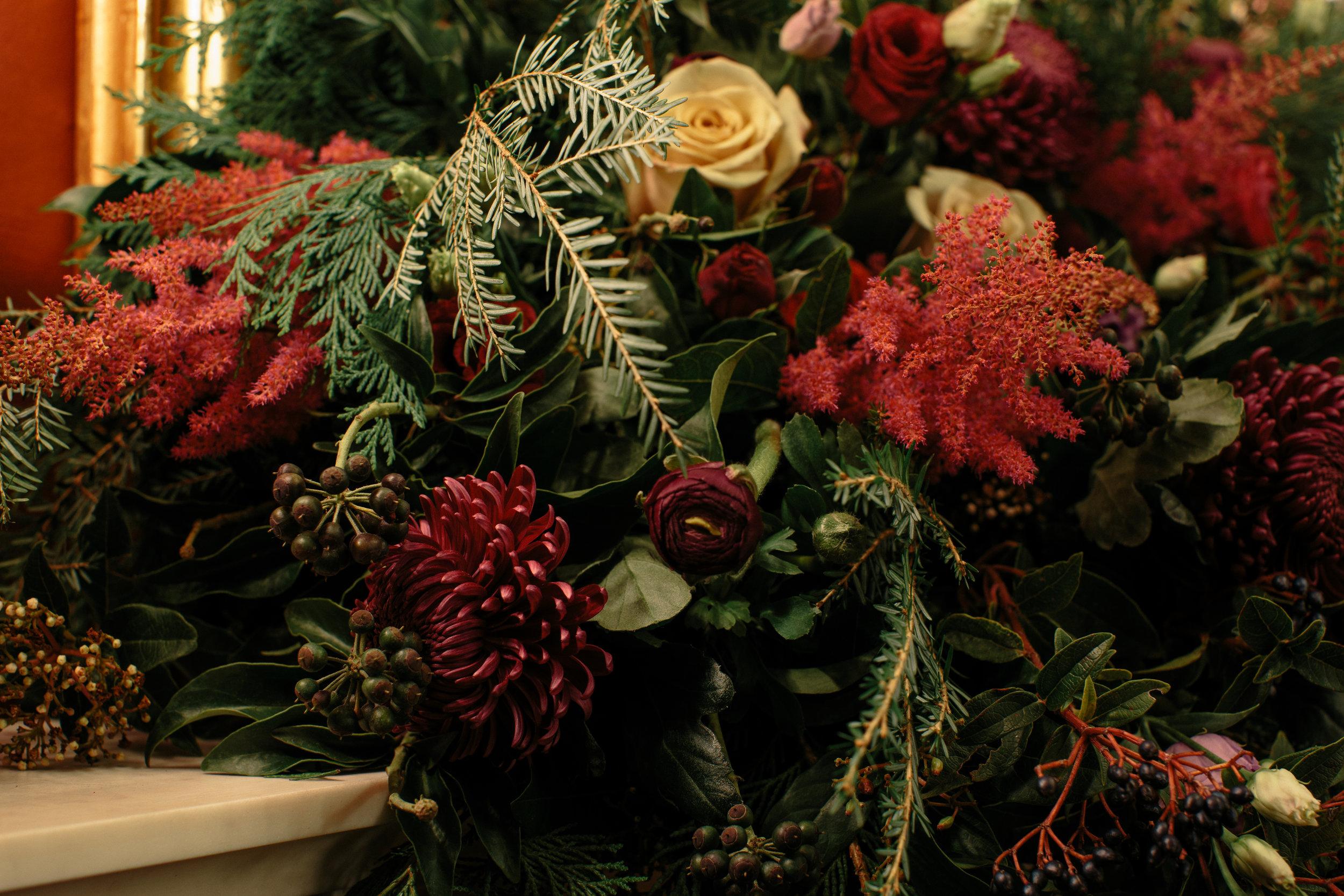 floral garland fireplace London Christmas