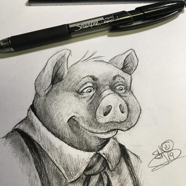 Goofing around with a Sharpie Liquid Pencil today! ✏️🖋 #Sharpie #sharpieliquidpencil #sketching #sketchbook #pig #drawing #illustration #sandybrooksart