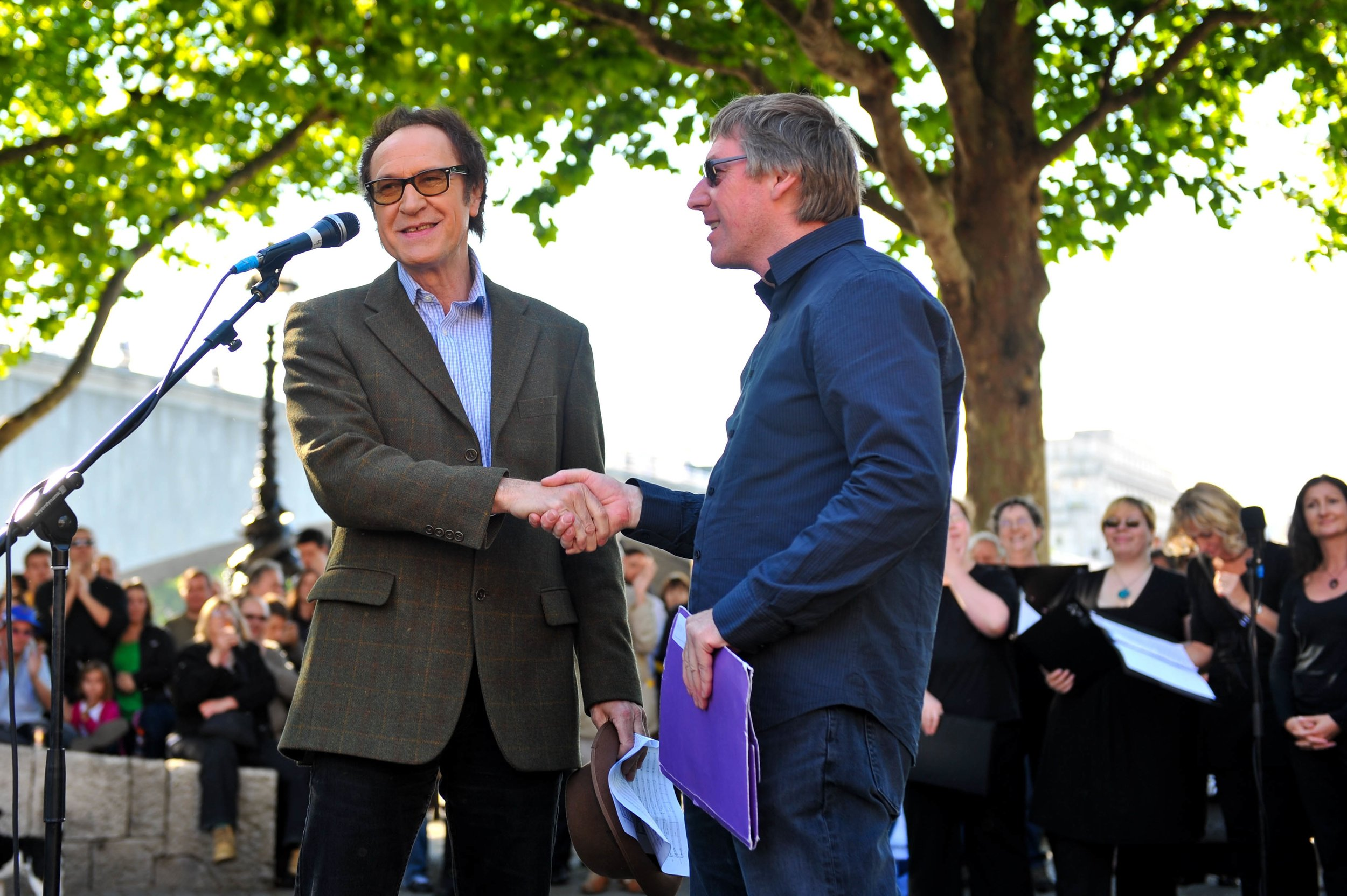 David with Sir Ray Davies CBE -  sunset at Waterloo in 2009