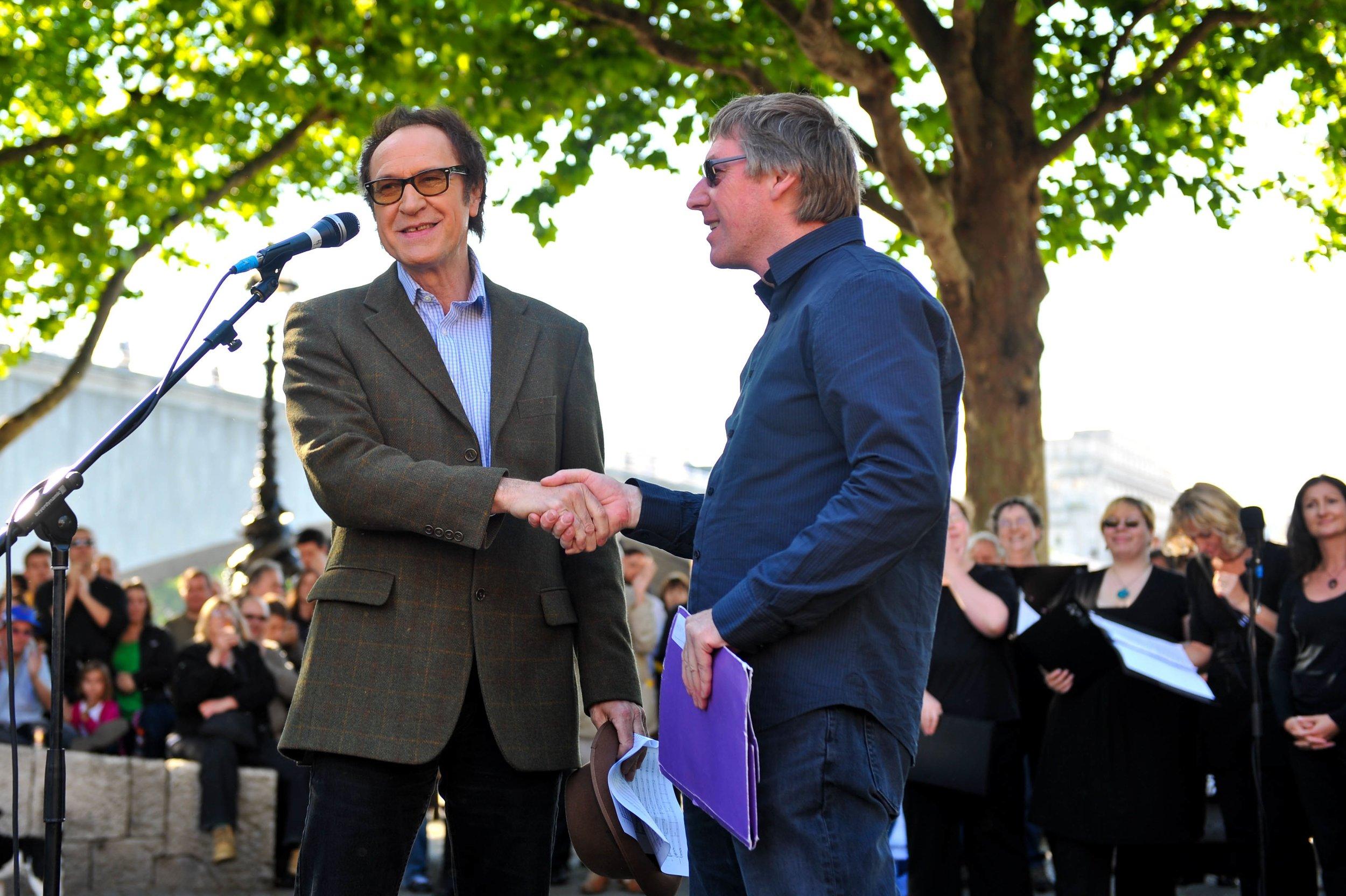 With Sir Ray Davies at Waterloo Bridge