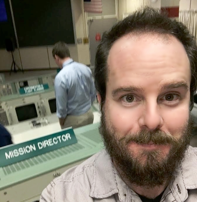 Sneaking around In the old school NASA control center.