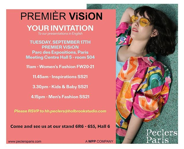 Invite to our #peclersparis presentations next Tuesday 17th September at #premiervisionparis  Women's fashion, Inspirations, Kids & Baby & Menswear.  Email us on hh.peclers@holbrookstudio.com if you would like to reserve a spot.