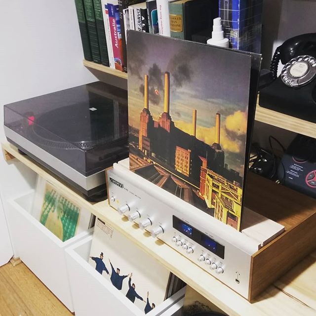 Today I made this LP stand, so that I can show off this excellent album art while listening. Just needs a stain to match the amplifier.  #diy #vinyl #vintage #LP #LPrecords #hifi #quadraphonic #vinylcollection #tasmanianoak #hmv #bookshelves #recordcollection #collector #handmade #nundah #brisbane #queensland #australia  #stanton @pinkfloyd #animals #batterseapowerstation  #pig #brisbanetoollibrary @brisbanetoollibrary