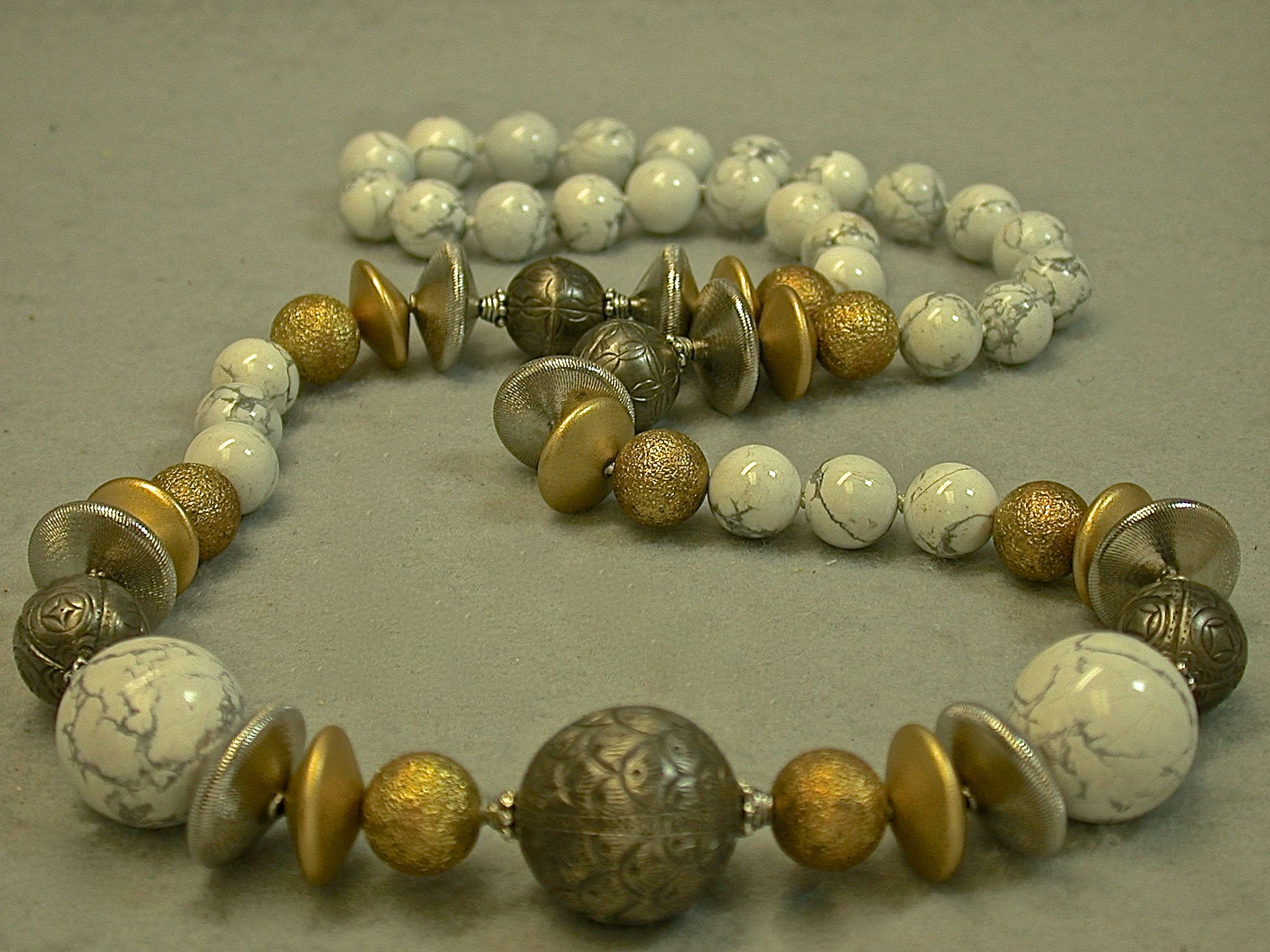 Antiqued Chinese Qing Silver Bead Knotted Necklace