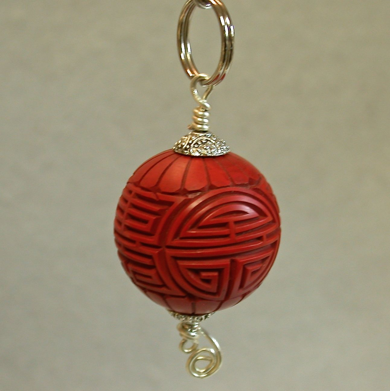 Vintage Chinese Cinnabar Bead Fan Light Pull