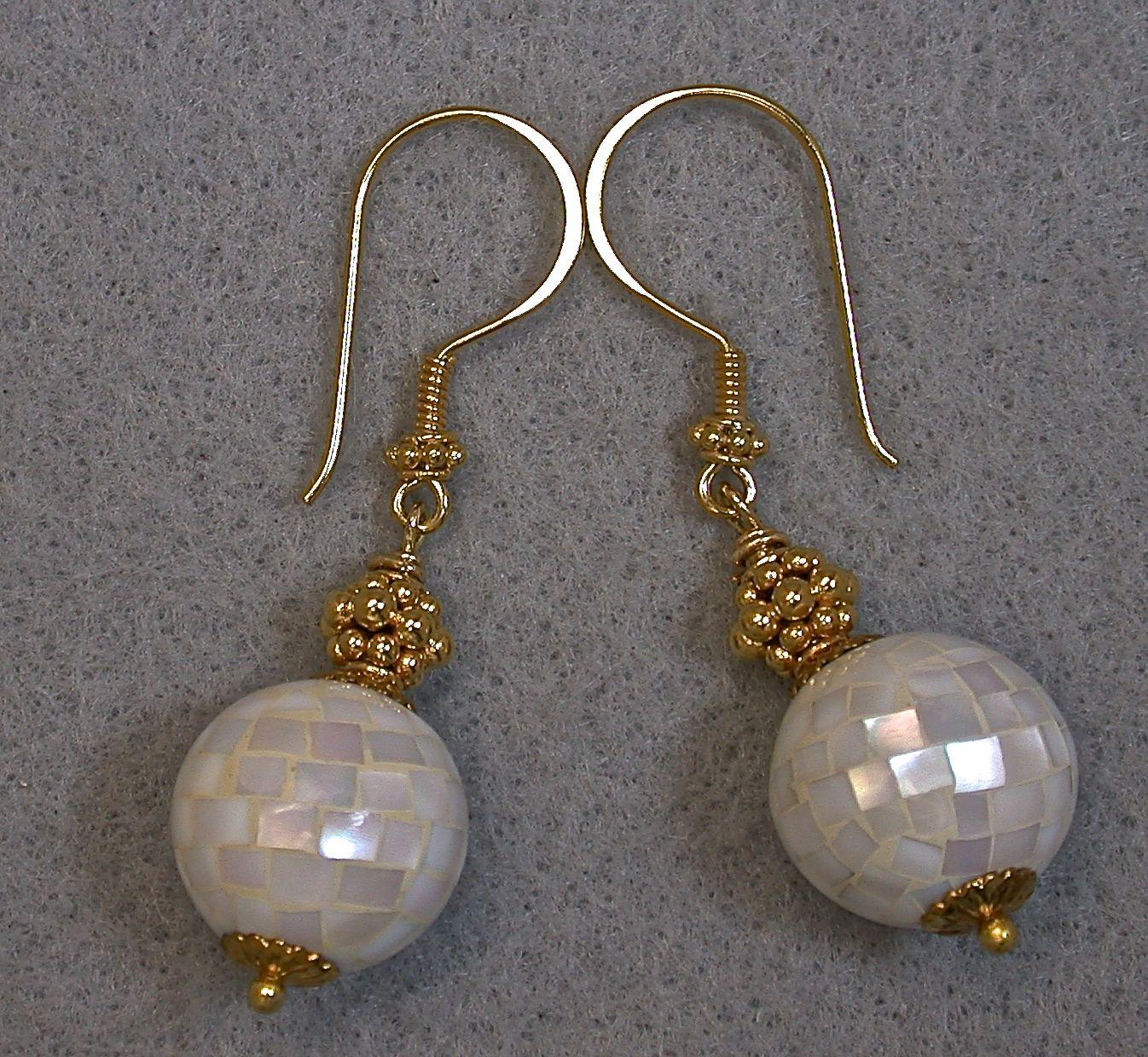 Vintage Handmade Abalone Bead Earrings