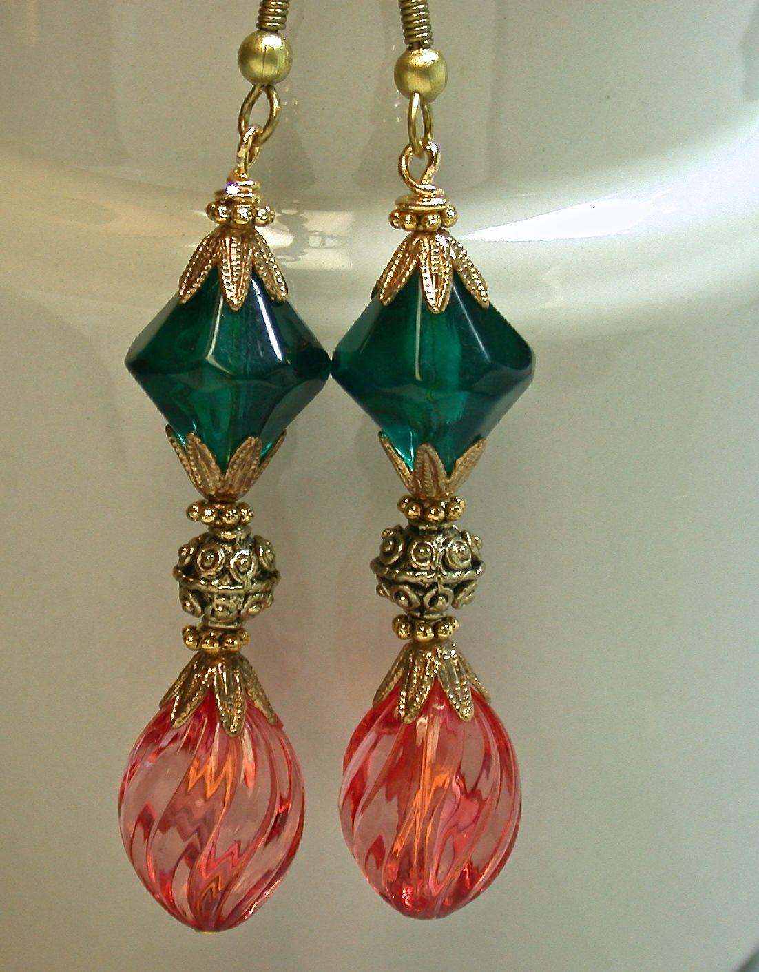 Vintage Japanese Lucite Bead Earrings