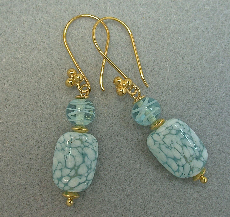 Vintage Japanese Crumb Glass Bead Earrings