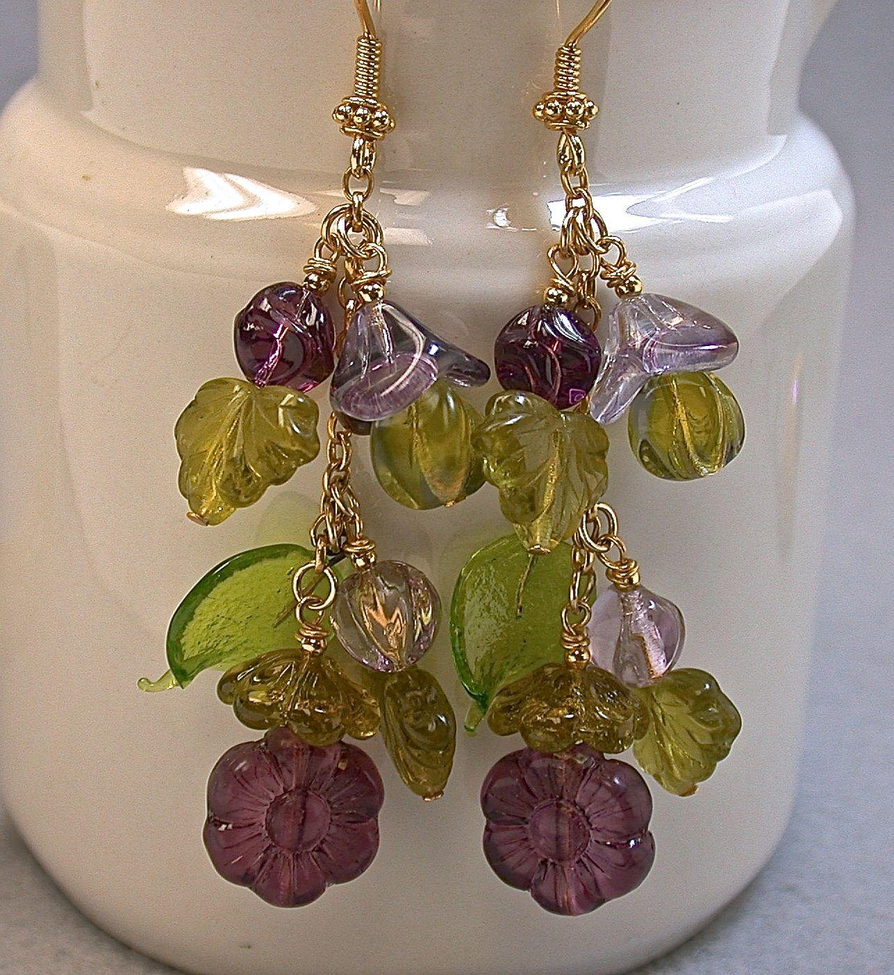 Vintage West German Pressed Glass Bead Earrings