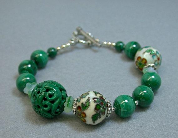 Vintage Carved Malachite Bead Bracelet