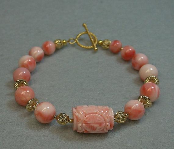 Vintage Angel Skin Coral Bead Bracelet