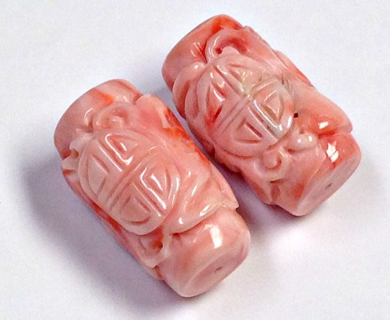 Vintage Carved Angel Skin Coral Beads